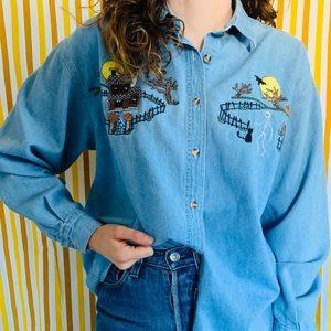 [vintage] 90s Denim Halloween Button Up Shirt